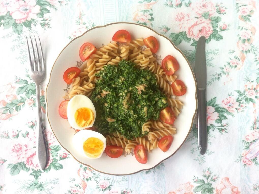studentenmaaltijd, budget koken, gezonde pasta, healthy, spinazie, zalm, studentenproof